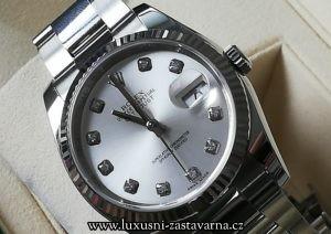 pravé hodinky, ocelový model Datejust s bílým ciferníkem