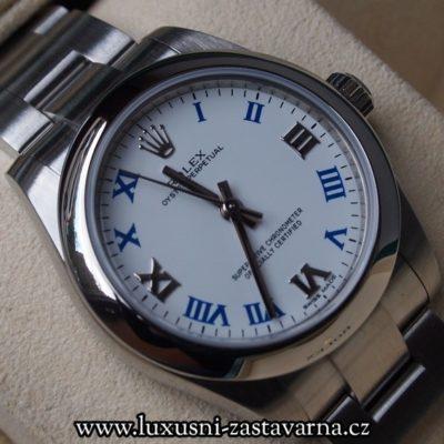švýcarské hodinky Rolex Oyster Perpetual s bílým ciferníkem