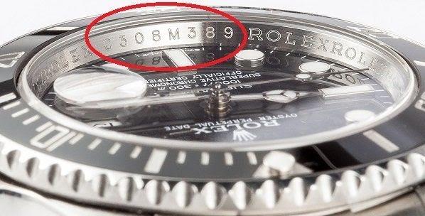 model Submariner a označení místa, kde se nachází sériové číslo
